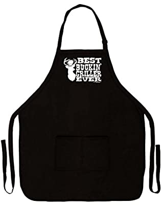 Best Buckin' Griller Ever Deer Hunting Redneck Gag Gift Funny Apron for Kitchen BBQ Barbecue Cooking Baking Grilling Bacon Two Pocket Apron for Country Chef Deer Hunter Venison