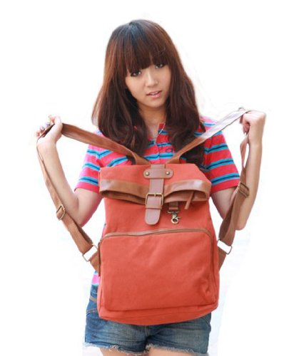 Cool2day lady women &amp;amp; girl Red korea style canvas leather shoulder school bag backpack B010008
