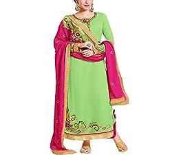 Wonder Villa Women's Faux Georgette Semi-Stitched Dress Material - ELIZA 5006_Green