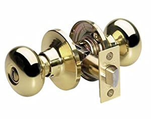 Master Lock BCO0303 Biscuit Privacy Door Knob, Polished Brass