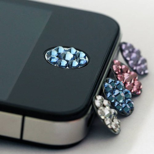 one piece blue Bling Rhinestone iPhone Home Button