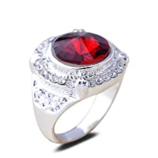buy Yazilind Round Cut Red Cubic Zirconia Clear Crystal White Gold Plated Alloy 8 Ring Women