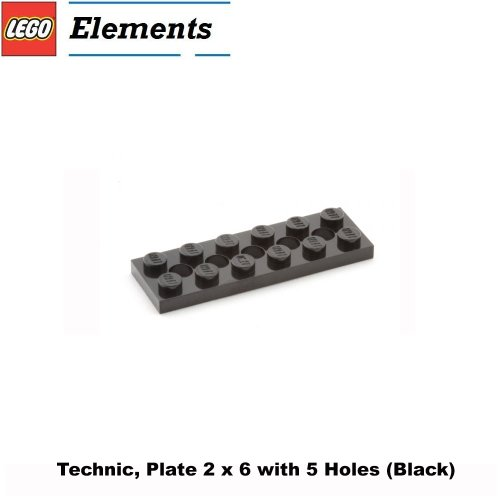 Lego Parts: Technic, Plate 2 x 6 with 5 Holes (Black) (Ninja Turtle Kraang Lab Escape compare prices)