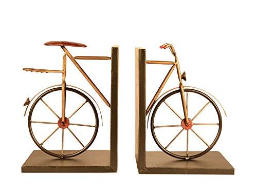 Bicycle Bookends Pair in Metal, 8 inches High x 6 inches Wide each Piece, Cycling Bookends