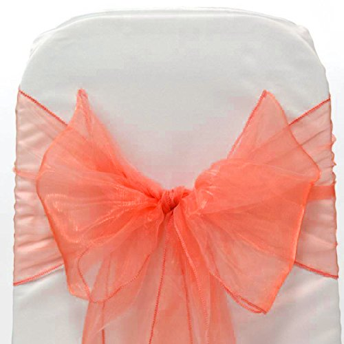 Mds Pack of 150 Organza chair sashes bow Sash for wedding and Events Supplies Party Decoration chair cover sash -coral