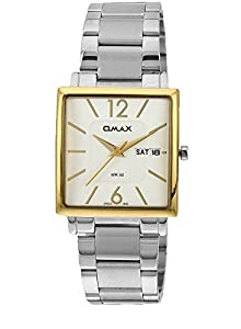 OMAX Men's Analog Day And Date Stainless Steel Watch White - SS386