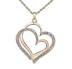 Sorellaz Double Heart Pink Gold Rhinestone Necklace