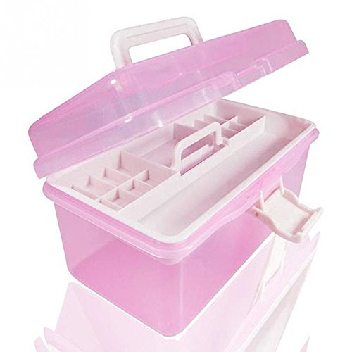 Manicure kit Nail art supplies nail polish Pink Thicken Storage Tools boxes, cosmetic box (Small) (Painting Toolbox compare prices)