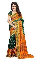 Shop Integrity Navratri Spacial Orange And Green Traditional Saree