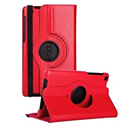 Gioiabazar 360 Degree Rotating Smart Leather Case Cover for Google Nexus 7 Tablet 2nd GEN Red