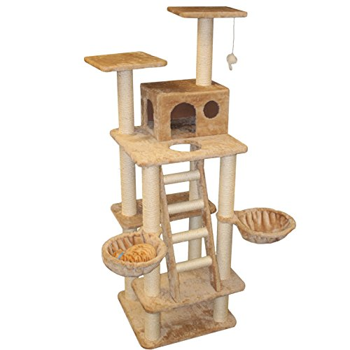 """72"""" Casita Fur Cat Tree In Tan - Premium Cat Tree For Large Cats And Kittens, Cat Furniture Bundles With Scratching Post, Cat Condo, Cat Tree Hammock And Cat Toys, Cheap Cat Trees And Condos front-582269"""