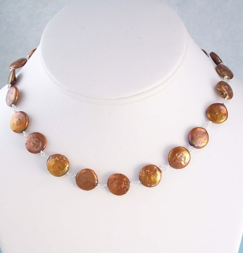 Coin Pearls Sterling Silver Link Necklace, Gold