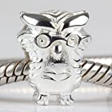 Owl Shiny Authentic 925 Sterling Silver Bead Fits Pandora Chamilia Biagi Troll Charms Europen Style Bracelets