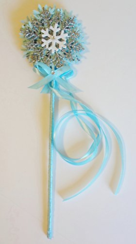 [Frozen inspired Elsa princess fairy wand Snowflake Blue White Glitter Ribbon Ice Handmade Birthday Party Halloween Costume Prop Magic Dress up Favor] (Party Glitters Costumes)