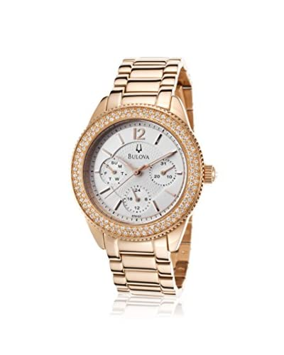 Bulova Women's 97N101 Rose-Tone Crystal Stainless Steel Watch