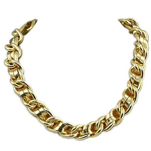 Goldtone with Gold Leather Chain 18