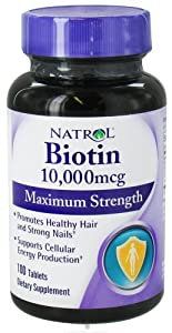 Natrol: Biotin, 10,000 mcg Maximum Strength, 100 tabs (2 pack)