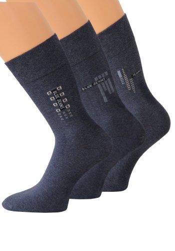 Gesundheitssocken Socken ohne Gummi Herrensocken ohne Gummibund ohne Gummizug, 6 Paar (39-42, blaumeliert)