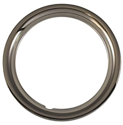 "Set of 4 Chrome plated Steel 15"" Universal 1.75 inch Beauty Trim Rings 1515C"