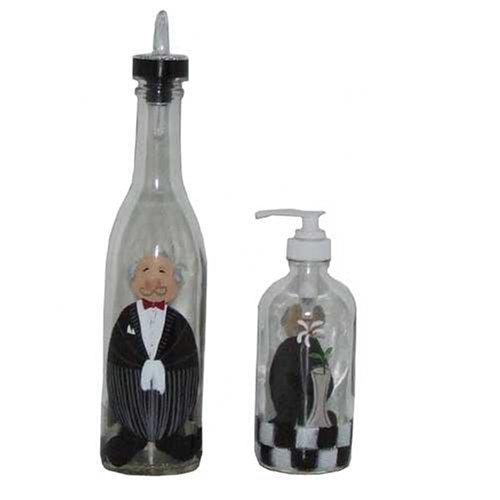 ArtisanStreet's Butler Design Pour Bottle & Soap Dispenser Set. Hand Painted & Signed By Artisan.
