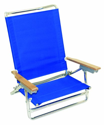 Rio Brands 5 Position Classic Lay Flat Beach Chair, Pacific Blue