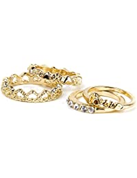 Imported 4Pcs Fashion Golden Stack Crystal Heart Love Above Knuckle Band Midi Ring Set