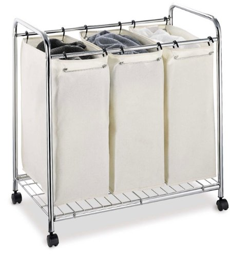 0rganize It All 3 Section Garment Rolling Rack Laundry Sorter