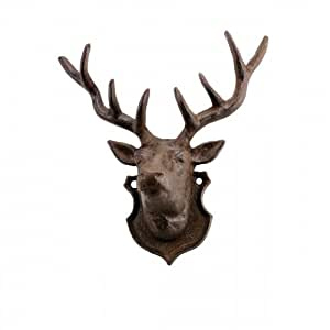 Deer Wall Accent, Cast Iron Rustic, Sign Plaque, Lodge Decor, 10-inch