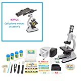 Microscope Kit with Metal Arm and Base, 6 Magnifications from 50x to 1200x, Includes 86-Piece Accessory Set and Case (5 Bonus Animal/Plant sides) (86 - Piece Accessory Set + Smart Phone Adopter) (Color: 86 - Piece Accessory Set + Smart Phone Adopter)