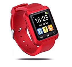 General AUX Touch Bluetooth Watch with Altimeter, Barometer, Padometer, Receive call and make calls through Bluetooth, Bluetooth Camera (Red)