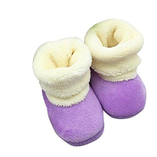 Tenworld Baby Girl Boy Soft Sole Snow Boots Prewalker Winter Warm Shoes (14, Purple)