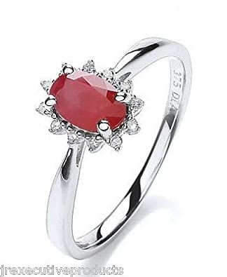 White Gold Real Ruby Oval Ring With Diamond Surround (size K - T available)