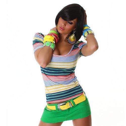 Sexy Top Shirt gestreift Streifen Rundhals Einheitsgröße 32,34,36,38 - verschiedene Farben