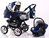 ADBOR Combo Pram Baby Lux + Car Seat No.39 dark blue / flower