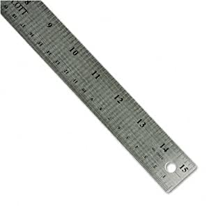 "Westcott : Stainless Steel Ruler with Cork Back and Hang Hole, 15"", Silver -:- Sold as 2 Packs of - 1 - / - Total of 2 Each"