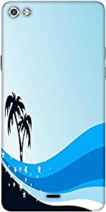 Snoogg Summer Background With Palm Tree And Blue Wave Designer Protective Back Case Cover For Micromax Canvas Silver 5 Q450