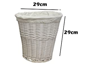 Woodluv Round white wicker Waste paper Bin With White Cloth Lining
