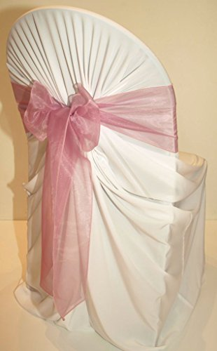 MDS 10 Organza Chair Cover Bow Sash Wedding Banquet Decor -Dusty Pink