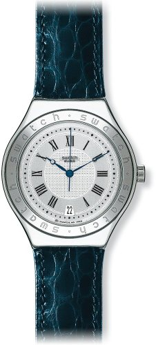 Swatch Mens Heracles Silver Dial Dark Blue Leather Strap Watch