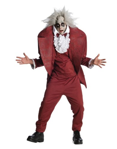 Mens Beetlejuice Shrunken Head 80s Fancy Dress Costume. Includes the wig