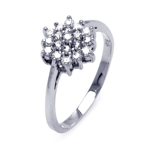 Sterling Silver Round CZ Flower Engagement Ring Size 6