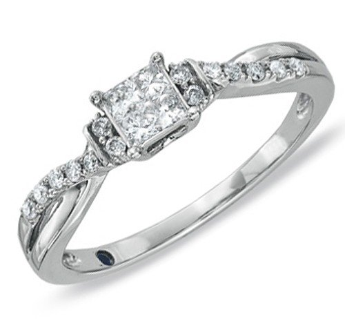0.58 Carat Infinity Inexpensive Engagement ring with Princess cut Diamond on 18K White gold