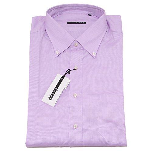 8332P camicia manica corta short sleeve XACUS lilla camicia uomo shirt men [46/ XXXL]
