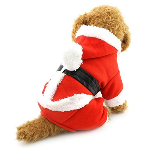 [PETLOVE Small Dog Clothing Dog Santa Costume Hooded Dog Christmas Outfit XL] (Dog Outfits For Christmas)