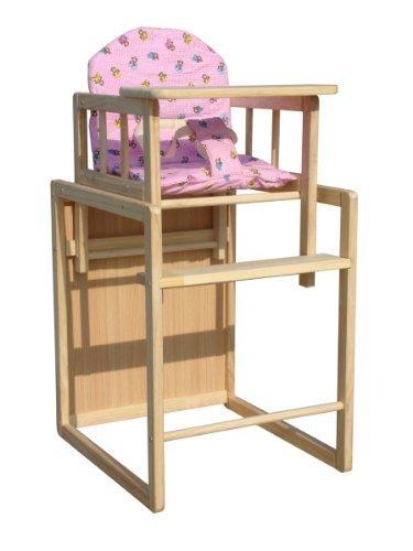 FoxHunter Baby Hochstuhl Hochstuhl Sitz Tisch 2 In 1 einstellbare hölzerne Kissen Pink Fütterung
