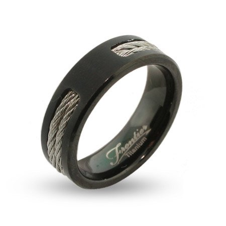Titanium Wedding Bands Mens Black Titanium Signet Ring With Double Cable Inlay