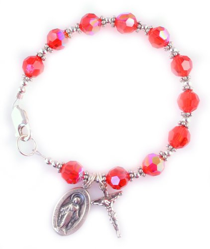 Rosary Bracelet Swarovski Crystal Sterling Silver Birthstone Ruby / July