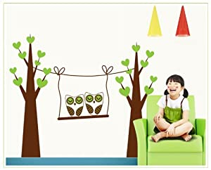 OneHouse Two Tree Owls in A Swing Wall Decal Nursery Room Wall Decor Sticker from OneHouse