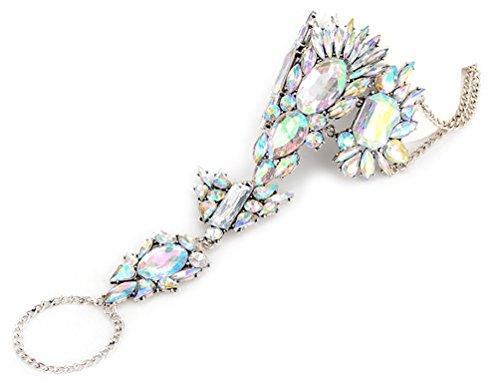 Cavigliera anklet decorata da cristalli con anello effetto argento di DesiDo® (multicolore)