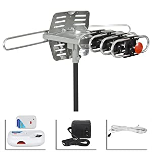 Best Choice Products® HD TV Outdoor Amplified Antenna HD TV 36dB Rotor Remote 360° UHF/VHF/FM 150 Miles